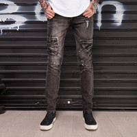 jean slim marron hommes s achat en gros de-Hommes Jeans Stretch Skinny Lavé Distressed Marron Moto Hommes Denim Jeans Droite Mode Homme Qualité