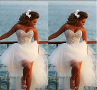 geschwollener strand großhandel-Schatz Kristall Perlen Brautkleider Korsett Puffy Tüll Rock Mode Formelle Party Tragen Pageant Strand Brautkleider Vestido
