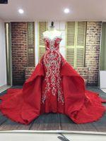 rote luxus meerjungfrau brautkleid großhandel-2018 Real Photos Red Wedding Dress Liebsten Spitze Perlen Kleid Stickerei Luxus Mermaid Brautkleider Mit Abnehmbarem Zug