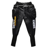pantalon homme sarouel noir achat en gros de-Printemps Eté Hip-hop Joggers Cargo sarouel homme Longues grandes poches Fermetures à glissière Blanc Noir