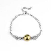 Wholesale Golden Bracelets For Men - AFSHOR Fashion Harry Quidditch Golden Snitch bracelets for women and men Potter cute ball wings chain bracelets nice gifts AF006