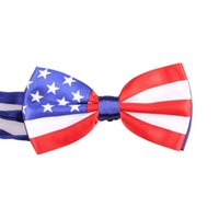 Wholesale state clothing online - Men Bow Tie American Flag Teenager United States Flags Ties Polyester Fiber Casual Party Clothing Fashion Accessories qj bb
