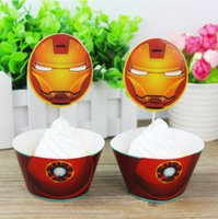 Iron Man Cake Topper 12pcs Wrappers 12 Pcs Toppers Set Paper Cup For Party Children Birthday Decorations Boys Gifts