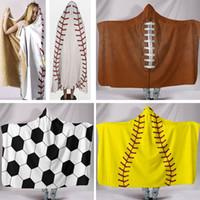 Wholesale hooded bath towel for adults resale online - Baseball Softball Bath Blanket Towel For Children Adult Blouses Hooded Blankets For Adult Warm Wrap Shawl Cape Coat HH7