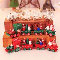 hölzerne weihnachtszüge großhandel-Weihnachten Holz Zug Geschenk Weihnachten Kinder Kreatives Geschenk Kinder Festival Präsentationen Weihnachten Home Dekorationen Kostenloser Versand