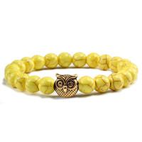ingrosso bracciale in oro giallo-New Natural Stone Beads Bangle Gold Owl Bracciali Braccialetti per le donne Uomini Stretch Yoga Accessori moda uomo Mens per regalo