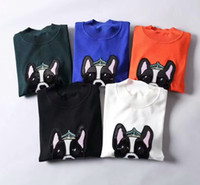 Wholesale Knitted Dog Sweaters - 2018 New spring mens fashion dog year luxury 100% wool elasticity knitted sweater~tops designer crew neck mens knitwear sweater
