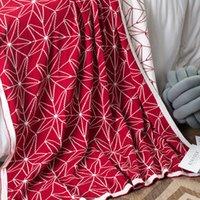 красное хлопковое одеяло оптовых-Вино красное одеяло трикотажные бросает дети одеяло летние одеяла для кровати хлопок One Piece постельные принадлежности портативный AWNMM-4