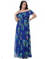 пляжные платья оптовых-Плюс размер женщины Bohemia платья мода цветочный принт BOHO Maxi Beach Dress Sexy Слэш шеи с коротким рукавом шифон dress 2XL