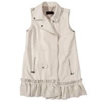 deri yelek bayanlar toptan satış-Ceket Yelek Kadın Sonbahar Kış Hakiki Deri Beyaz MotoBiker Kore Fermuar Fırfır Kolsuz Gerçek Koyun Derisi Bayanlar Yelek
