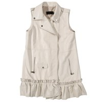 корейская белая куртка-молния оптовых-Jacket Vest Women Autumn Winter Genuine Leather White Moto&Biker Korean Zipper Ruffle Sleeveless Real Sheepskin Ladies Vest