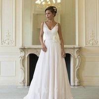 Wholesale women gothic t shirts - Gothic V Neck Summer Wedding Dress Simple Boho Backless Women Bridal Gown Plus Size Vestido De Noiva Longo