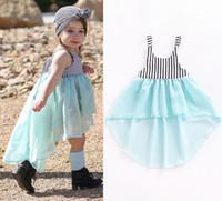 Wholesale dovetail dresses - Baby Girls Dovetails Skirt Black White Vertical Striped Bow Wathet Blue Elegant Chiffon Vest Beach Party Dress Princess Infant Outfits 1-4T