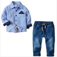 meninos jeans de inverno outono venda por atacado-2 pcs Meninos Camisa Calças Jeans Roupas Infantis terno 2018 Outono Inverno Europeu e Americano Crianças Conjuntos Outfits Venda