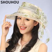 Wholesale Hat Cap Uv - SHOUHOU 2017 Women summer hat Ladies' Foldable Wide Large Brim Floppy Beach Hat silk flower sun anti-uv cap