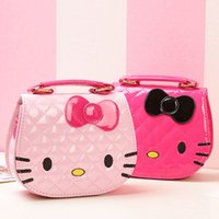 Wholesale hello handbags - Character Kids One Shoulder Bag Inclined Shoulder Bag Hello Kitty Big Bowknot Girls Cartoon Handbags Children Mini Waterproof Bags 5 Colors
