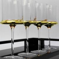 el boyalı şarap toptan satış-Avrupa el boyalı altın Şampanya Bardağı kırmızı şarap bardağı mobilya ev modeli odası aksesuarları ev şampanya şarap cam