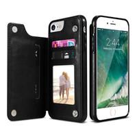 çoklu iphone toptan satış-PU Deri Kılıf iphone X 6 6 s 7 8 Artı çoklu kart sahipleri telefon kılıfları için iphone xs max xr için kapak üst
