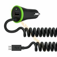 Wholesale type c car charger online - Black A Universal Auto power Car charger With Type c Micro usb charging cable for samsung s8 s9 s7 edge htc android phone gps speaker mp3