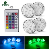 Wholesale 10leds RGB Led Underwater Light Pond Submersible IP67 Waterproof Swimming Pool Light Battery Operated for Wedding Party