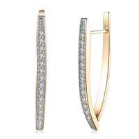 Wholesale champagne color earrings resale online - Romantic Full Zircon Champagne Gold Color Round Hoop Earrings For Women Ear Cuff On Earring Female Big Hoops
