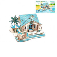Wholesale 3d wooden puzzle house - 3D Stereoscopic Wooden Developmental Jigsaw Puzzle Simulation Bali Island Holiday House Learning Education Toys DIY Intelligence Toy 8 5xl W