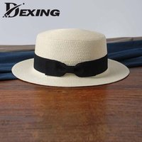 2fddc7298e8 wholesale sun flat straw hat boater hat girls bow summer Hats For Women  Beach flat panama straw chapeau femme