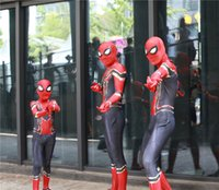 Wholesale free siamese - New 3D Kids Iron Spiderman Superhero Lycra Stretch hot selling Costume cotume Cosplay Siamese tights Free Shipping