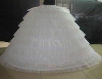 geschwollene petticoats großhandel-Nagelneue große Petticoats-weißer super geschwollener Ballkleid-Unterrock 6 Band-lange Beleg-Krinoline für erwachsene Hochzeit / formales Kleid