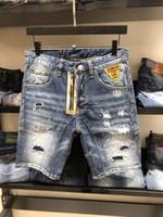 Wholesale denim short pants for men - 2018 Brand Luxury D2 Men's short Jeans denim shorts pants For man Hole beggar Pocket Slim washed breeches Jeans zipper badge breathable Blue