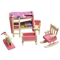 ingrosso bambino miniatura della bambola della casa-Miniature Furniture Modello Playset Pink Wooden Dollhouse Camera dei bambini Early Educational Toy per Kid Child Baby Girl Play