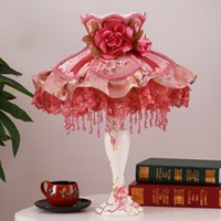 Wholesale princess style bedding for sale - Group buy Colorful decorative pattern table lamp light bedroom bed room bedside wedding flower table light lamp palace princess style