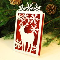 Wholesale glossy invitations - 100pcs Hollow Merry Christmas Decoration Greeting Blessing card Glossy paper craft Snowflake &deer Party Wedding Invitation Card