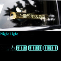 Wholesale car lights online - Temporary Car Parking Card Telephone Number Card Notification Night Light Sucker Plate Car Styling Phone Number Card Gold Silver