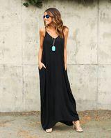popüler maxi elbiseler toptan satış-Elegent Hugely Popüler Tek parça Maxi Elbiseler Avrupa ve Amerika Birleşik Devletleri Yaz Kadın Düzensiz Kemer Yaka Cep Uzun Etekler