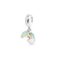 Wholesale High quality Rainbow Charms Jewelry Accessories European Beads Original box for Pandora Silver Bracelet Pendant Necklace Charms