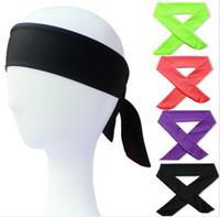 solide sport stirnbänder großhandel-Solide Tie Zurück Stirnbänder Stretch Schweißbänder Haarband Feuchtigkeitstransport Männer Frauen Bands schals für Sport Jogging
