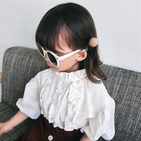 kinder weißes rüschenhemd großhandel-Mädchen bluse herbst neue kinder rüschen kragen laterne hülsenhemd kinder weiße prinzessin tops mode kinder grundiert hemd f1258