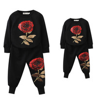 Wholesale Family Hoodies - Family Matching Sportswear New Spring Outfits Mother And Daughter Set Rose Floral Embroidered Sequin Sets Hoodie T-shirt Pants 2 Pcs Suit