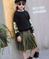 Wholesale Long Black Suit Skirts - Children Clothing Winter Spring Kids Girl Embroidered Flowers Top+Stripe Skirt 2pcs Girl Spring Autumn Clothes Suit 4 s l