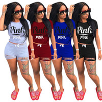 ensemble de survêtement pour dames achat en gros de-ROSE Femmes D'été Shorts T-shirt Sports Costumes Imprimer Lettre Pantalon Court T-shirt Tops Tops Chemises Survêtement Lady Gym Fitness Sport Ensembles DHL