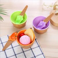 детские чашки для мороженого оптовых-Оптовая симпатичные мороженое чаша с ложкой дети мороженое Кубок пары чаша подарки десерт инструменты красочные пластиковые детская посуда