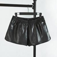 ingrosso pantaloncini medio vita pu-C3 Autunno Casual Donna Pantaloncini in pelle PU 5XL Plus Size Abbigliamento donna Vita elastica Pantaloncini larghi