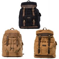 Wholesale vintage travel backpack for sale - Business Daypack Canvas Laptop Backpack Unisex Vintage Leather Casual Rucksack Travel School Bags G174S