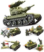 Wholesale kazi toys - 4pcs lot KAZI Children's Building Blocks Toys Military Field 4 In 1 Jagged Tank Assembled Children's Model ABS Toys #84055