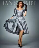 diz boyu elbiseler artı boyut tafta toptan satış-Gelin Elbise üst etek Pileli Yarım Kollu Boncuklu Tafta Gelinlik Misafir Elbiseler Artı boyutu Örgün Önlükler Diz Uzunluk Of Grey Anne