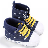 ingrosso le ragazze merlettano scarpe scolastiche-Autumn Comfortable Canvas Babies Boy Girl Calzature Scarpe ROMIRUS Spring Baby Soft Lace-up per Cute Shoes High-top School Crib
