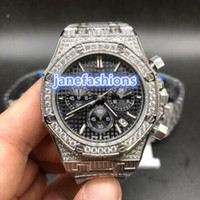 ingrosso orologio al quarzo boutique-il cronografo al quarzo VK di alta qualità della vigilanza di modo del diamante d'argento della vigilanza dell'orologio degli uomini caldi di vendita guarda il trasporto libero