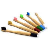 cepillo de dientes al por menor al por mayor-Respetuoso del medio ambiente Cepillo de dientes de bambú natural para niños Cepillos de dientes de madera de cerdas suaves Niños Cuidado dental con caja al por menor logotipo de impresión de gran cantidad