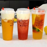 tek kullanımlık bardak toptan satış-700 ml / 24 oz Soğuk Sıcak içecekler Suyu Bardak Kahve Sütlü Çay Bardağı Kalınlaşmak Tek Kullanımlık Şeffaf Plastik İçecekle ...
